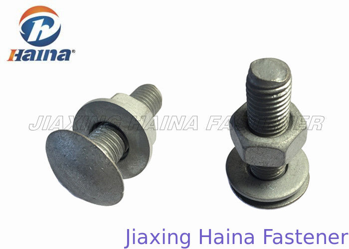 Round Head Custom Fasteners High Speed Highway Guardrail Bolts 20mm - 100mm