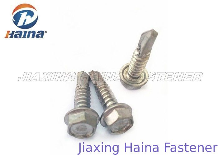 Stainless Steel Tek Screws With Tapping Thread , Hex Washer Head SS Fasteners